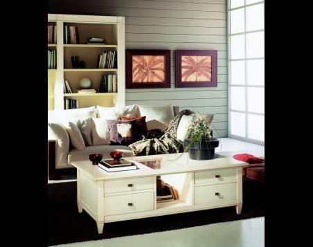 Mesa de Centro rectangular Modelo Viena de madera de Cerezo en color Blanco Roto
