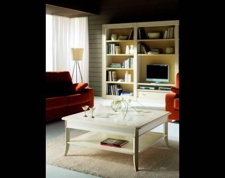 Mesa de Centro cuadrada Modelo Limoux de estilo Clásico en color Blanco Roto