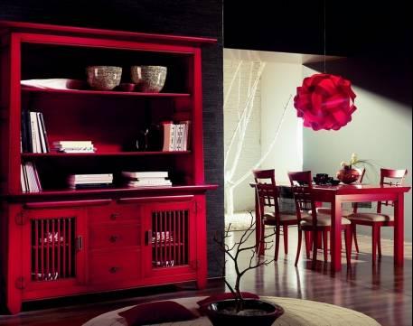 Comedor Kobe de estilo Asiático Oriental en color Rojo Vivo