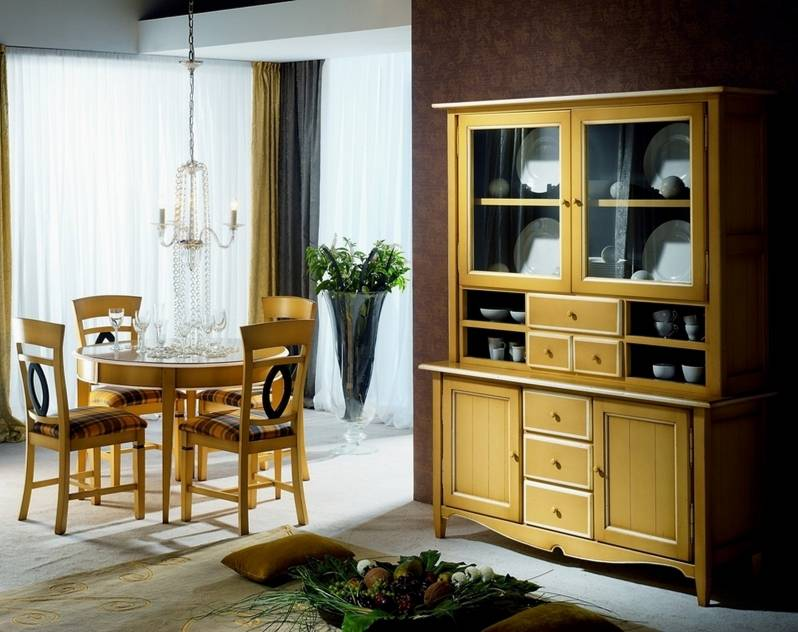 Comedor Luna-Bv en tono Amarillo y Hueso en madera maciza