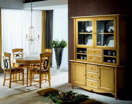 Conjunto de Comedor fabricado en madera maciza y acabado en Amarillo combinado con Hueso