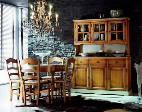 Conjunto de Comedor estilo Rústico de madera maciza, acabado en color Cerezo claro y Gris