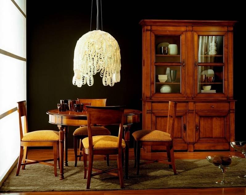 Conjunto de Comedor estilo Francés en madera de Cerezo maciza
