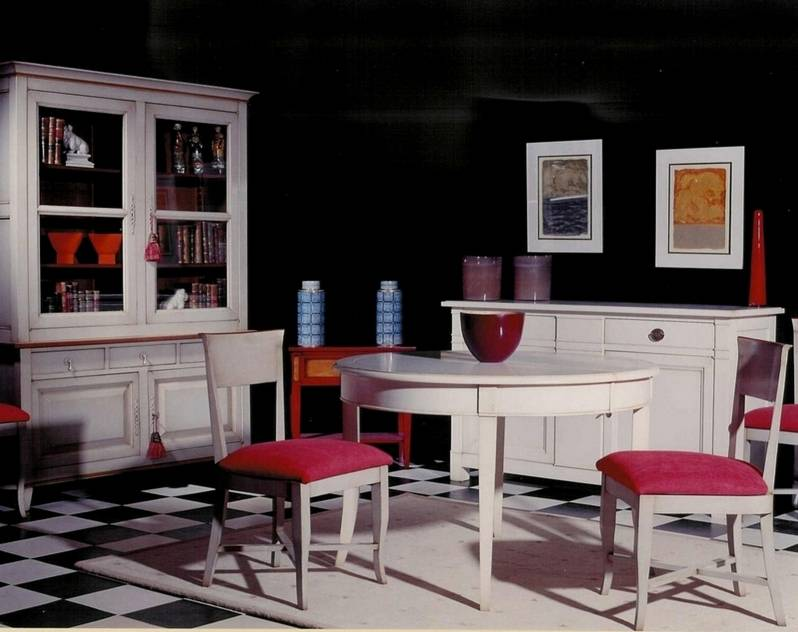 Conjunto de Salón en madera maciza de Cerezo y Tilo, acabado en color Gris con Cerezo Anticuario