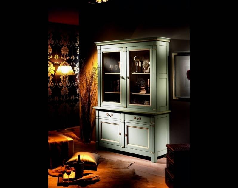 Librería-Vitrina modelo Limoux de madera maciza de Cerezo y Tilo