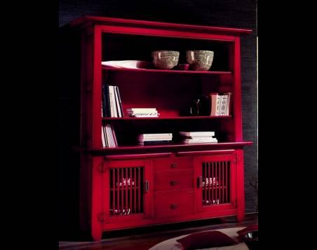Librería estilo Oriental Modelo Kobe fabricada en madera maciza de Landa