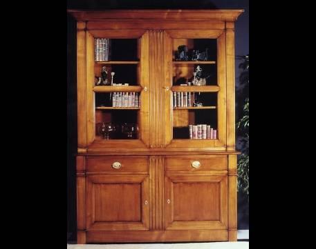 Librería-Vitrina Modelo Limoux fabricada en madera de Cerezo macizo