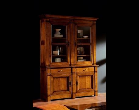 Vitrina Modelo Limoux fabricada en madera maciza con puertas de Cristal