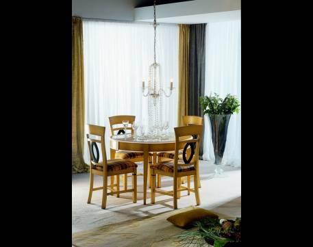 Mesa Redonda de Salón con extensible Modelo Venecia en madera maciza