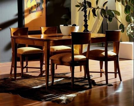 Mesa rectangular de Comedor Modelo Limoux en madera de Cerezo macizo con extensible