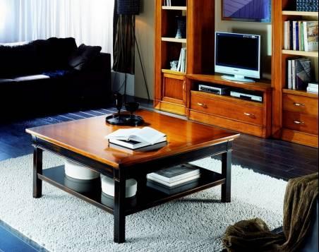 Mesa de Centro cuadrada Modelo Viena 110 de madera de Cerezo en color Negro