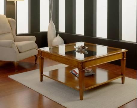 Mesa de Centro cuadrada Modelo Tívoli fabricada en madera maciza