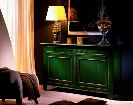 Buffet Aparador Modelo Venecia en color Verde Vasco desgastado