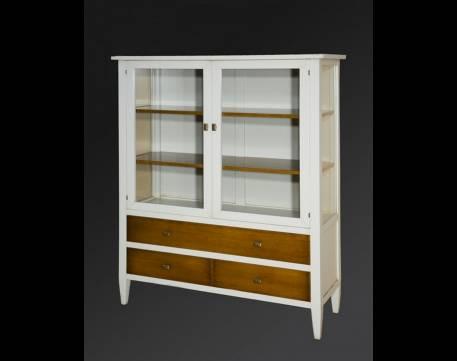 Aparador Vitrina Modelo Viena de estilo Vintage en Blanco y color Madera
