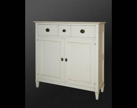 Aparador Mueble de TV Modelo Viena fabricado en madera maciza en color Blanco