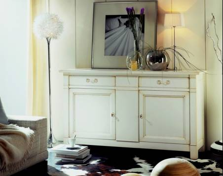 Aparador de Comedor Modelo Limoux elaborado en madera de Cerezo Francés en color Blanco
