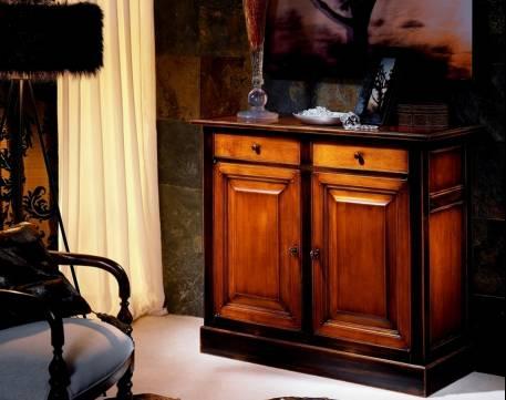 Aparador Modelo París terminado en color Cerezo y Negro desgastado