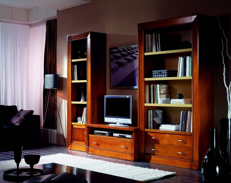 Mueble de TV Modelo Viena estilo Rústico en madera de Cerezo