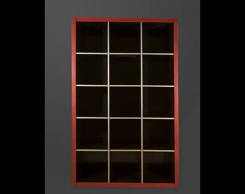 Estantería Modelo Endo 1 terminada en color Rojo y detalles en Negro y Gris