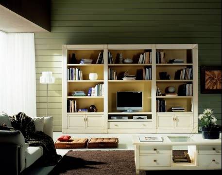 Estantería-Librería Modular Modelo Viena en madera maciza de Cerezo y Tilo