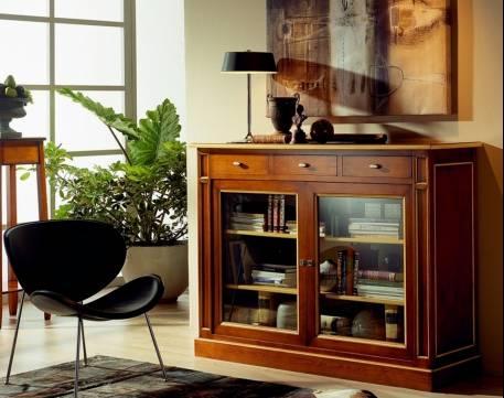 Aparador-Librero Modelo París fabricada en madera maciza de Landa