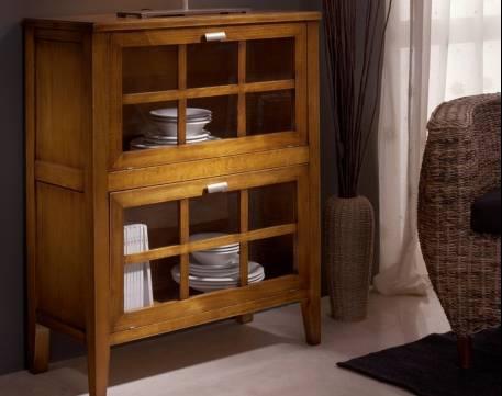 Aparador Librero Modelo Tívoli confeccionado en madera y color Cerezo