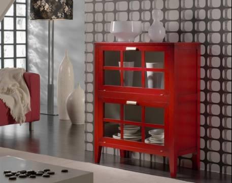 Librero-Bar Modelo Tívoli fabricado en madera maciza de Cerezo y Tilo