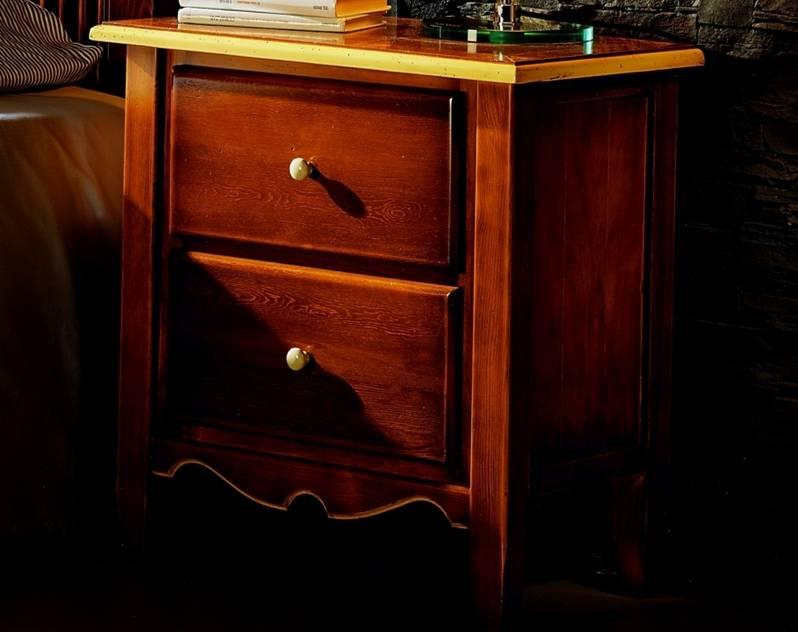 Mesita de Noche Modelo Luna fabricada en madera maciza de Landa