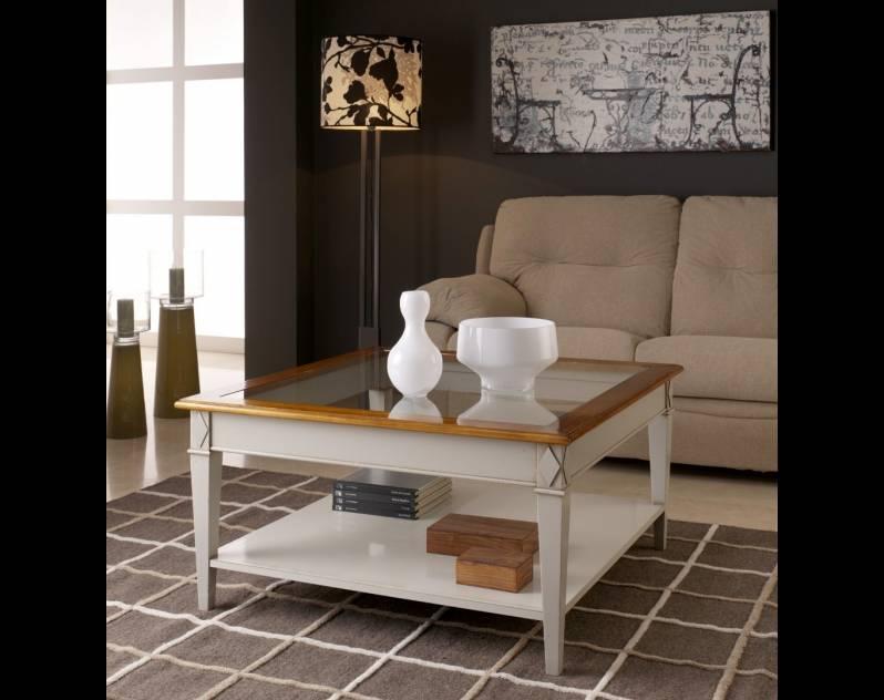Mesa de Centro Modelo Tivoli en color Blanco Roto y Cerezo