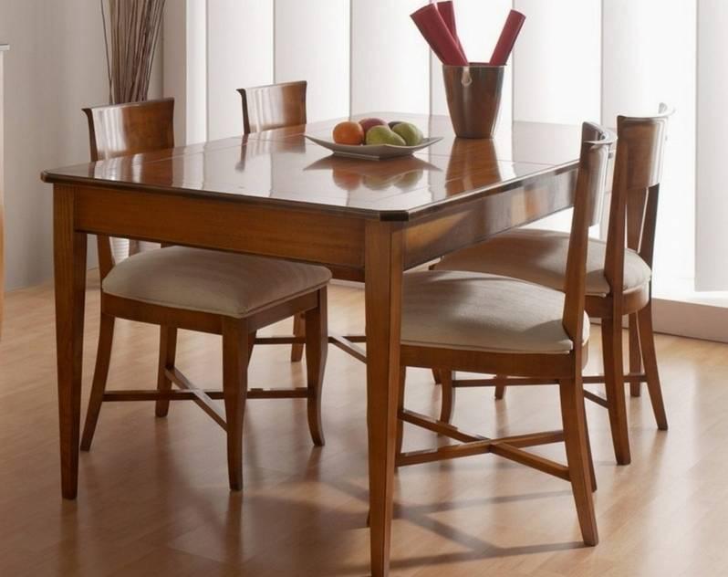 Conjunto Modelo Tívoli 140 cm de Mesa de Comedor con 4 sillas en madera maciza de Cerezo