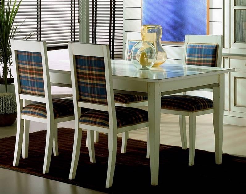 Conjunto Modelo Venecia 180 de Mesa de Comedor y 4 sillas finalizado en color Blanco