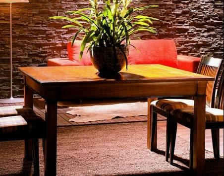 Conjunto Modelo Viena 130 de Mesa de Comedor cuadrada y 4 Sillas estilo Clásico