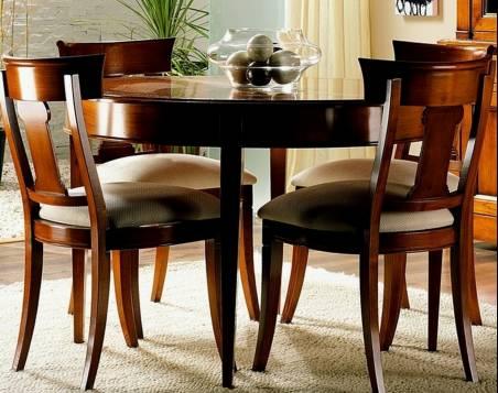 Conjunto de Mesa de Comedor y 4 Sillas de Comedor confeccionadas en madera maciza de Cerezo y Tilo