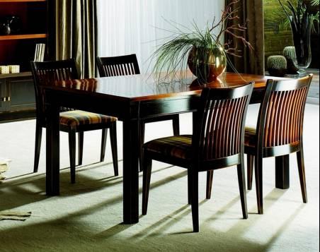 Conjunto de Mesa de Comedor y 4 Sillas Modelo Viena 160 acabado en color Negro desgastado
