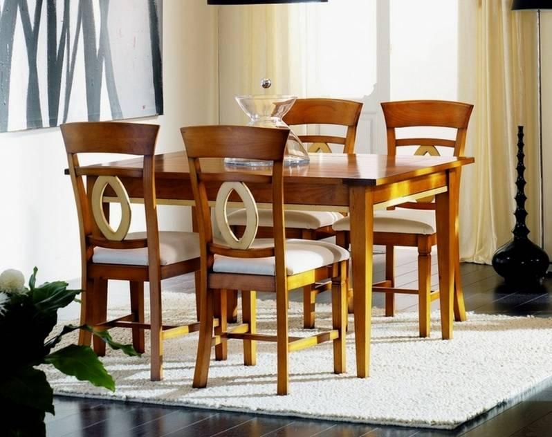 Conjunto de Mesa de Comedor y 4 Sillas Modelo Venecia 160 en color Madera con detalles en Blanco