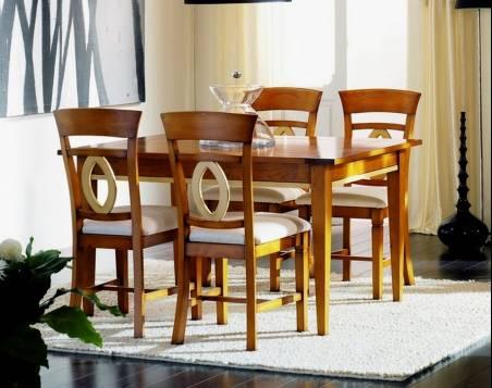 Conjunto de Mesa de Comedor y 4 Sillas confeccionada en madera maciza de Landa